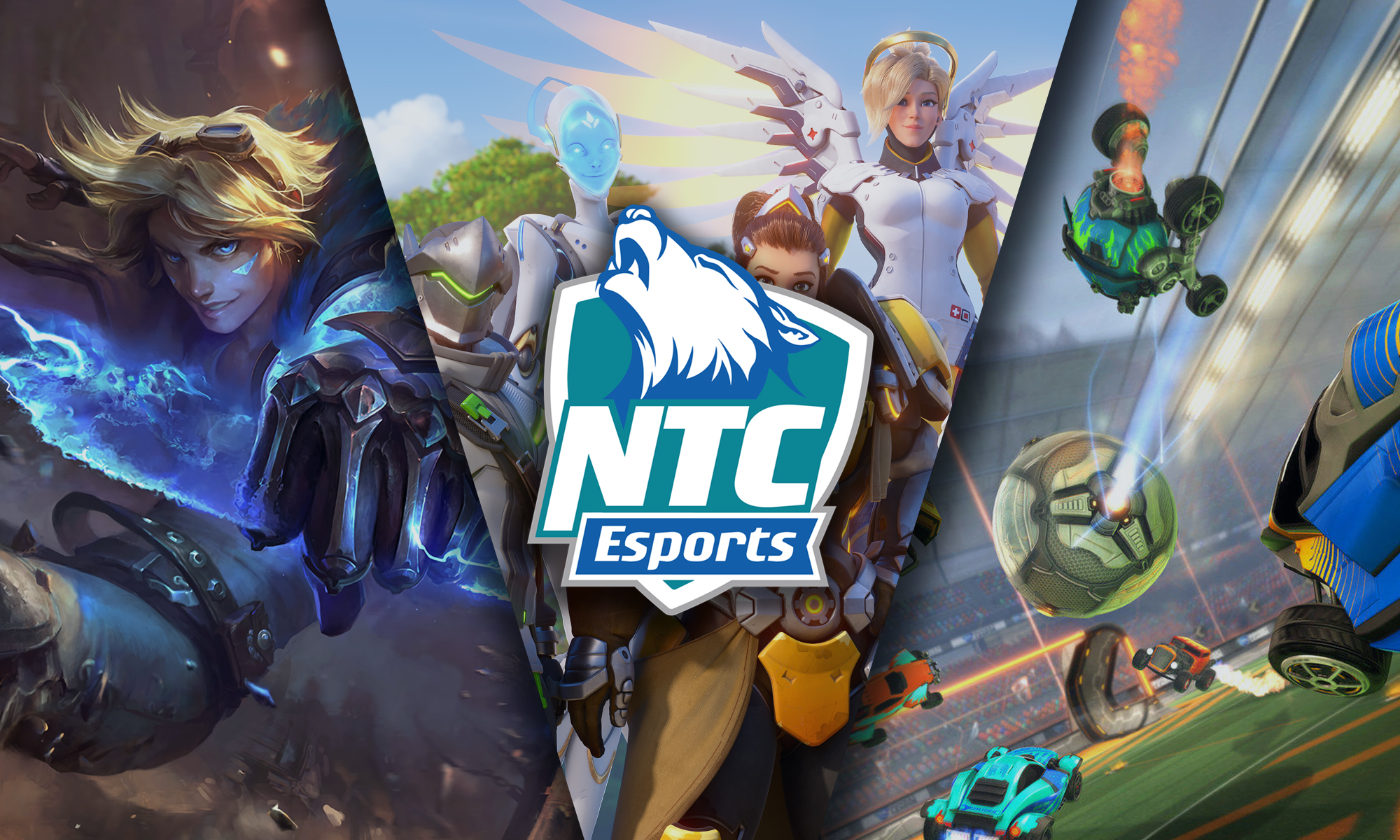 Characters from Overwatch, League of Legends, and Rocket League are grouped together with the Timnerwolves esports logo