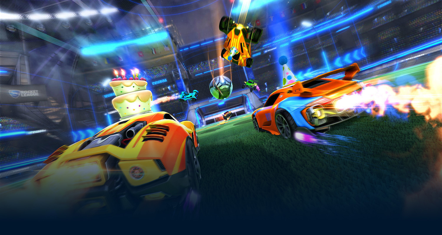 Cars from Rocket League are racing towards the ball to get it in the goal